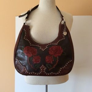 American West RosesTooled Leather Shoulder Bag